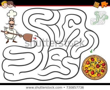 Cartoon labirinto gioco chef pizza illustrazione Foto d'archivio © izakowski