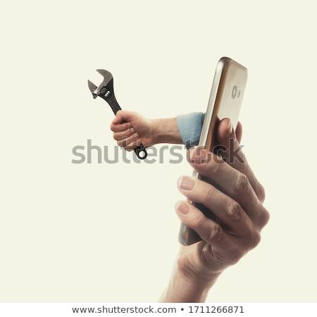 cartoon · monteur · loodgieter · vrouw · moersleutel - stockfoto © krisdog