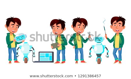 asian boy set vector primary school study build robot helper knowledge learn electronics for stock photo © pikepicture