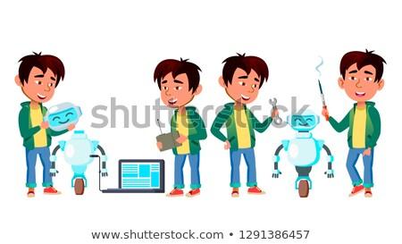 Asian jongen ingesteld vector studie Stockfoto © pikepicture