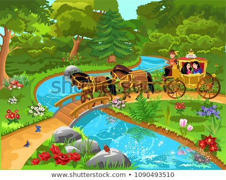 Scene with prince and princess by the river Stock photo © colematt