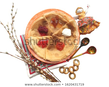 Wooden spoon with Khokhloma painting with red caviar isolated on white background. Vector cartoon cl Stock photo © Lady-Luck
