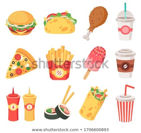 Brathähnchen Hamburger Plakate Set Fast-Food Stock foto © robuart