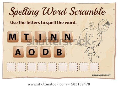 Spelling word scramble template for word badminton Stock photo © colematt