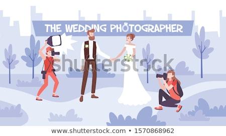 Foto stock: Casamento · foto · recém-casados · fotógrafo · noivo · terno