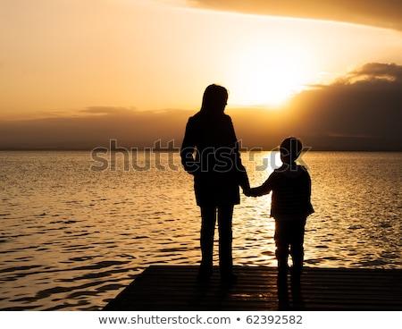 mãe · filho · praia · tropical · paisagem · panorama · belo - foto stock © galitskaya
