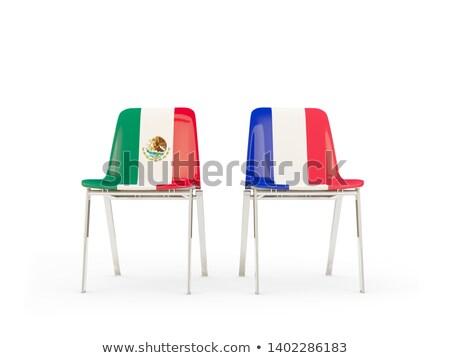 Twee stoelen vlaggen Frankrijk Mexico geïsoleerd Stockfoto © MikhailMishchenko