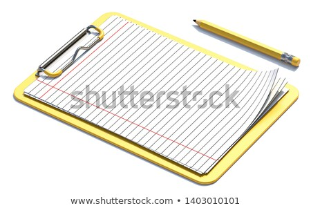 Yellow clipboard, pencil and blank lined paper 3D Stock photo © djmilic