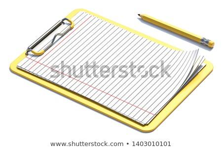 fehér · papír · lap · ceruza · 3D · renderelt · kép - stock fotó © djmilic