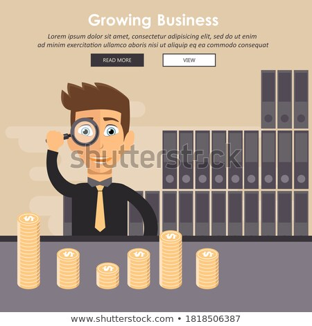 growing business in financial aspects man holding magnifying glass and sitting in front of golden c stock photo © makyzz