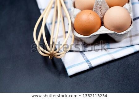 Tojások kartondoboz törölköző közelkép egyéb főzés Stock fotó © marylooo