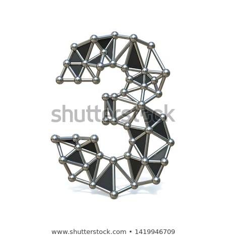 Wire low poly black metal Number 3 THREE 3D Stock photo © djmilic