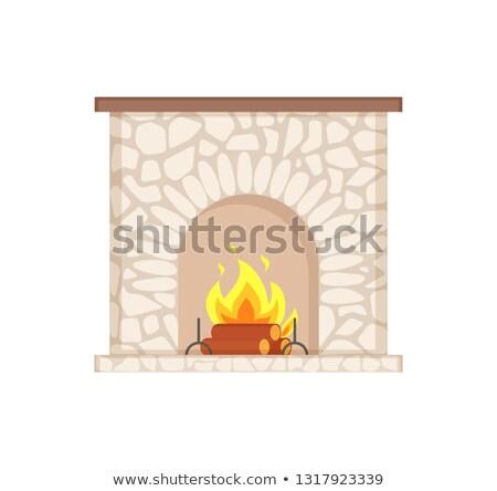 Taş şömine yanan granit şenlik ateşi vektör Stok fotoğraf © robuart