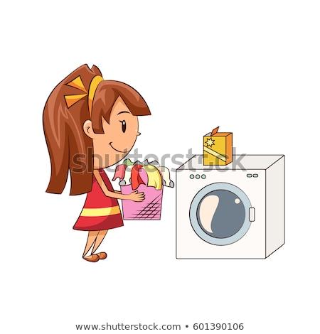 Goede kinderen huishoudelijk werk witte illustratie vrouw Stockfoto © colematt