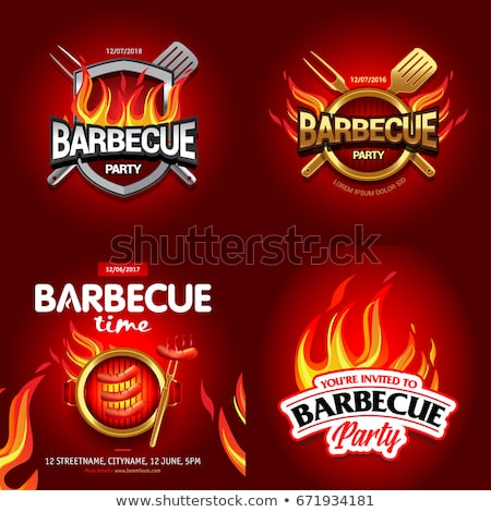 Party Barbecue Hot Poster Vector Illustration Stock photo © robuart