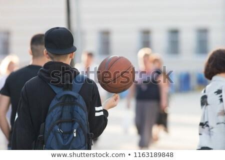 Fiatal kosárlabdázó labda hátizsák áll játszótér Stock fotó © pressmaster