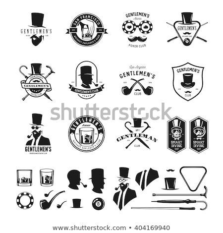 male with beard and gentleman with umbrella vector stock photo © robuart