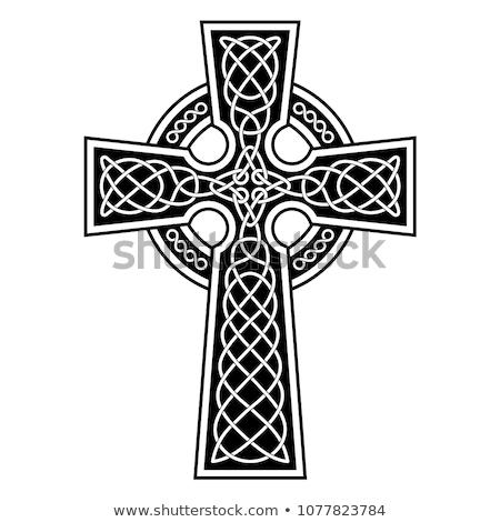 Celtic croix vert feuille verte trèfle signe Photo stock © mayboro