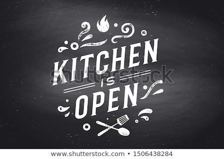 Cuisine ouvrir mur affiche signe Photo stock © FoxysGraphic