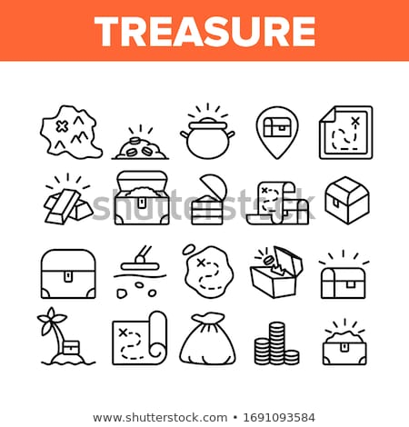 treasure chest collection monochrome set vector stock photo © pikepicture