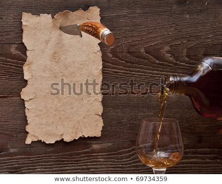 oud · papier · houten · muur · mes · glas · spatten - stockfoto © inxti