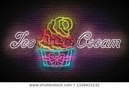 ヴィンテージ ポスター アイスクリームコーン 紙 カップ 碑文 ストックフォト © lissantee