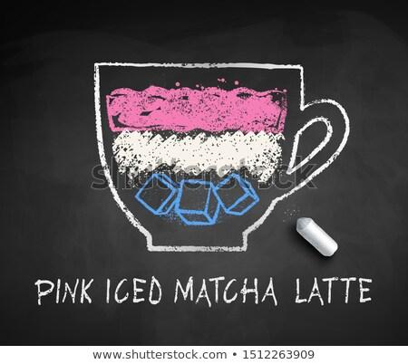 Vector sketch of iced Pink Matcha Latte Stock photo © Sonya_illustrations