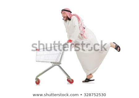 Stock photo: The arab man doing shopping isolated on white