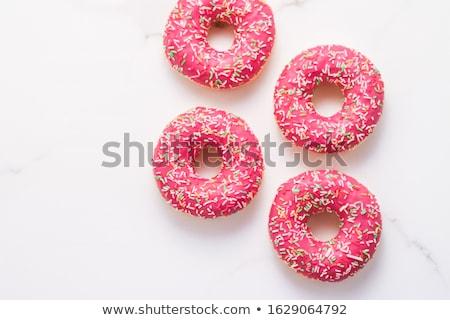 Fánkok édes sütemény desszert márvány asztal Stock fotó © Anneleven