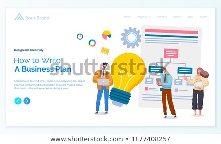 Man Standing near Statistic with Light Bulb Vector Stock photo © robuart