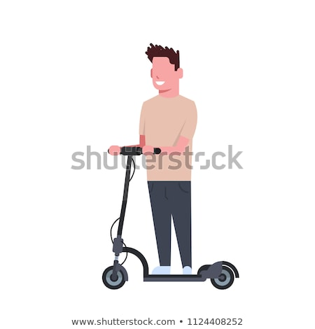 Cute little boy riding a kick scooter Stock photo © Len44ik