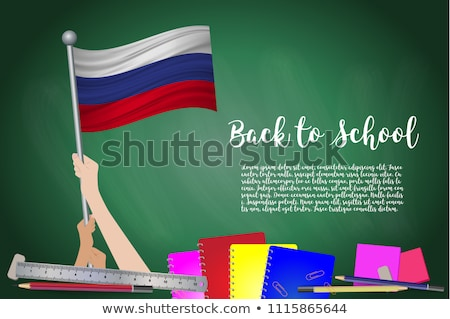 Russia flag and hand on white background. Vector illustration Stock photo © butenkow