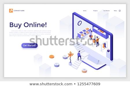 Aterrissagem página monitor de computador exibir compras on-line internet Foto stock © natali_brill