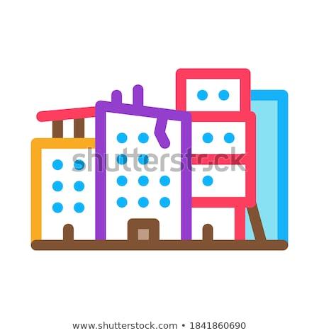 разрушенный зданий икона вектора Сток-фото © pikepicture
