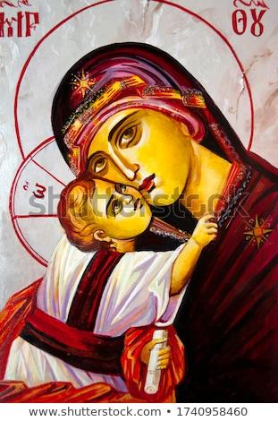 девственница · черно · белые · рисунок · Пасху · Иисус - Сток-фото © sahua
