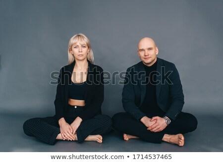souriant · belle · couple · séance · été · parc - photo stock © hasloo