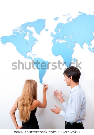 Geography lesson. Adult teacher giving presentation on white boa Stock photo © HASLOO