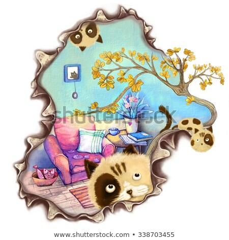 Cartoon cat frame isolato oggetto Foto d'archivio © mumut
