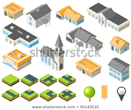 Suburban community isometric city kit stock photo © Winner