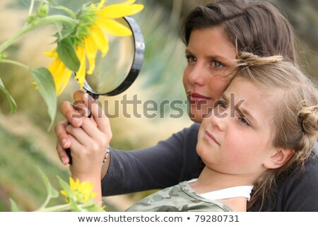 mother and daughter examining a sunflower through a magnifying glass stock photo © photography33