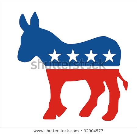 Demokrat eşek 3D beyaz star Amerika Stok fotoğraf © creisinger