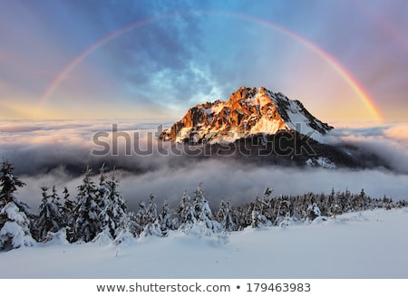Mountain landscape with snow and rainbow Stock photo © ajlber