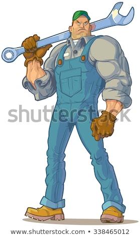Vízvezetékszerelő erős szívós komoly kész csövek Stock fotó © lisafx
