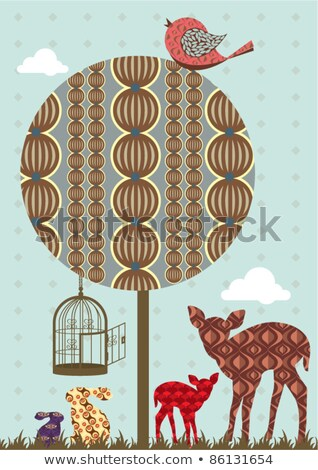 Foto stock: Veado · aves · vetor · colorido · natureza · folha