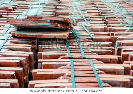 old roof tiles stacked stock photo © pinkblue