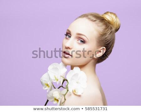 Blond Mädchen Orchidee Schönheit Porträt jungen Stock foto © carlodapino
