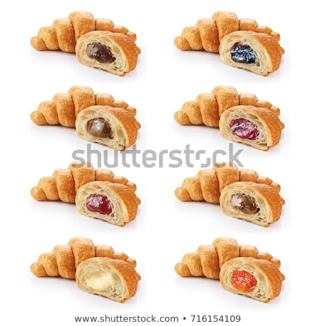Stockfoto: Geïsoleerd · croissant · frambozen · voedsel · cake · witte