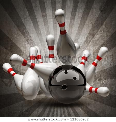 Palla da bowling lucido rosso sport divertimento velocità Foto d'archivio © tilo