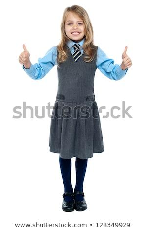 uczennica · uniform · stwarzające · zdjęcie · dziewczyna · szkoły - zdjęcia stock © stockyimages