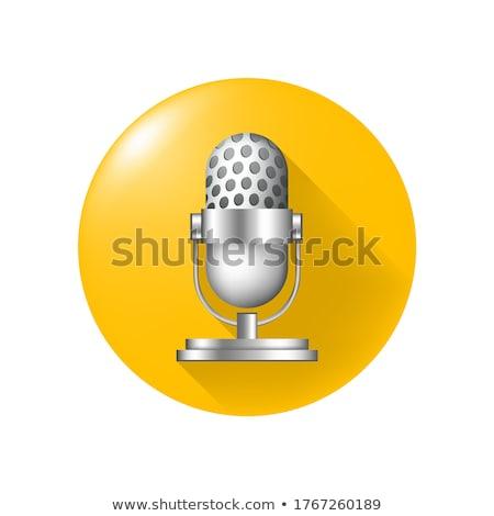 microfone · branco · fundo · rocha · cabo · comunicação - foto stock © shutswis